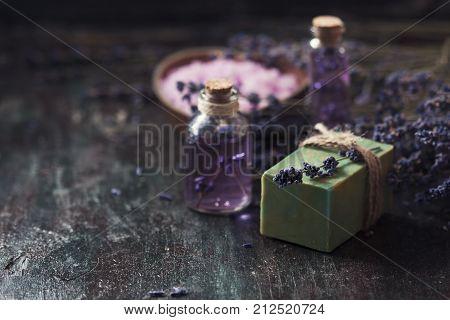 Concept Spa Therapy. Natural Handmade Soap, Fresh Lavender Blossoms With Natural Handmade Lavender O