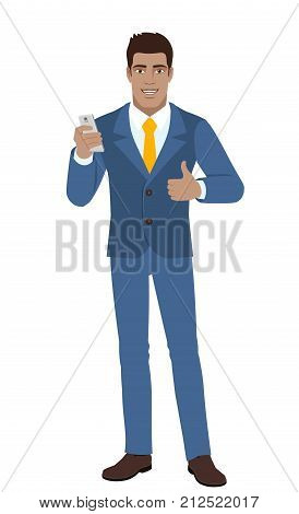 Businessman with mobile phone showing the thumb up. Full length portrait of Black Business Man in a flat style. Vector illustration.