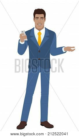 Businessman with mobile phone gesturing. Full length portrait of Black Business Man in a flat style. Vector illustration.