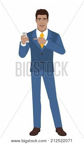 Businessman pointing at a mobile phone. Full length portrait of Black Business Man in a flat style. Vector illustration.
