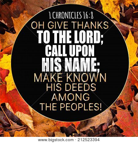 Thanksgiving 1 Chronicles 16:8 Oh give thanks to the LORD; call upon His name; make known His deeds among the peoples!