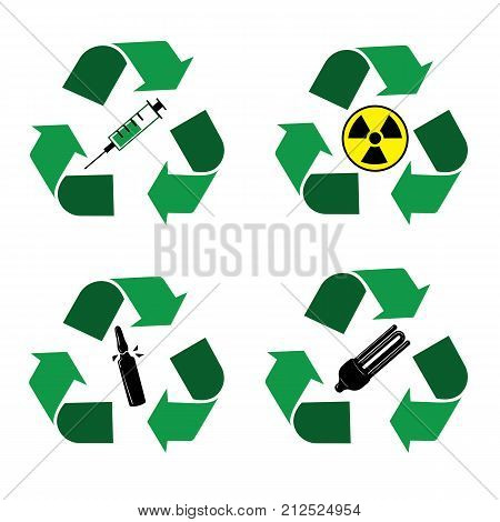 Different recycle waste bins icons. Waste types segregation recycling. Medical, syringe, glass, nuclear, fuel rods, lamps Vector illustration