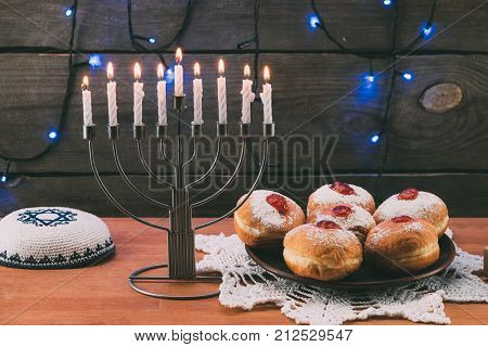 Menorah, Kippah And Donuts For Hanukkah