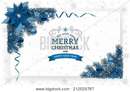 Christmas background with decoration and paper. Decorative Christmas festive background with Christmas flowers balls stars and ribbons.