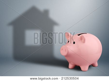 Pink piggy bank with shadow as house housing industry finance concept