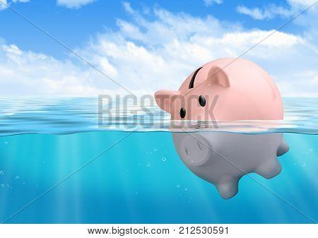 Piggy bank drowning at sea savings loss concept
