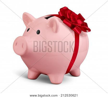 Piggy bank with ribbon isolated on white money gift concept