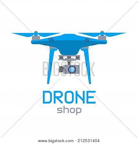 Isolated drone icon in a flat style. Concept multicopter logo for online store and design poster
