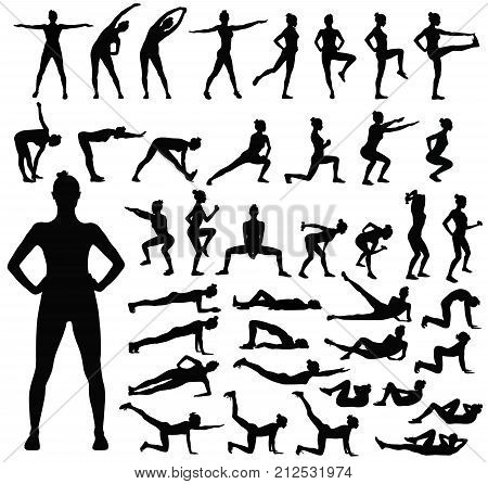 Big set of black vector silhouettes of slim woman doing fitness workout in many different position.