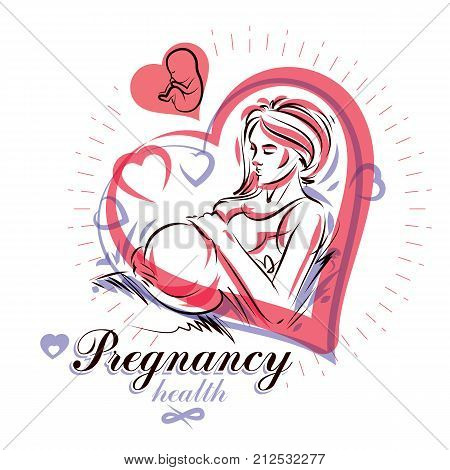 Elegant pregnant woman body silhouette drawing. Vector illustration of mother-to-be fondles her belly. Pregnancy and maternity popularization