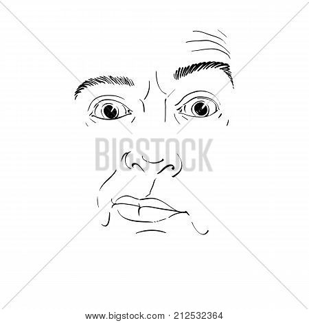 Monochrome vector hand-drawn image young man in doubt disbeliever. Black and white illustration of skeptic guy features of visage.