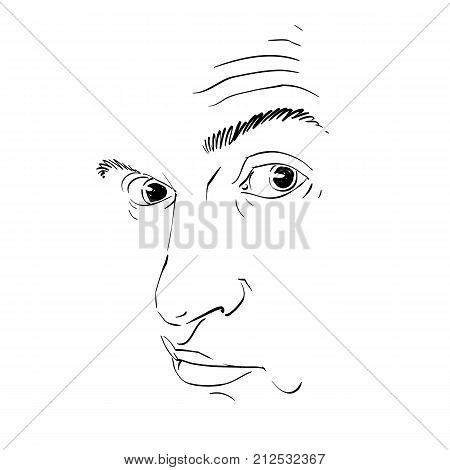 Graphic vector hand-drawn illustration of cheater phony guy portrait. People face expressions mask with face features.