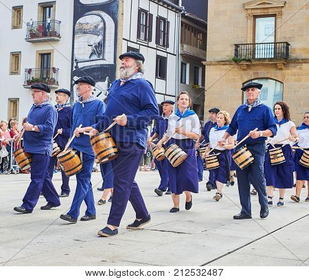 San Sebastian Spain - August 31 2017. Citizens drumming in Tamborrada the drum parade to commemorate the day that allied Anglo-Portuguese troops invaded the city. Basque Country Guipuzcoa. Spain.