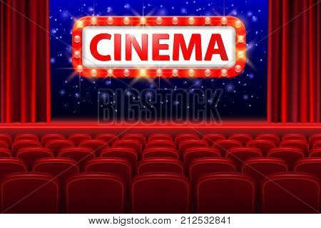 Realistic cinema hall interior with red seats. Retro style cinema sign with spot light frame. Movie premiere poster design. Vector illustration EPS 10.