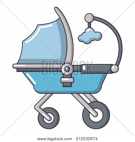 Baby carriage cute icon. Cartoon illustration of baby carriage cute vector icon for web