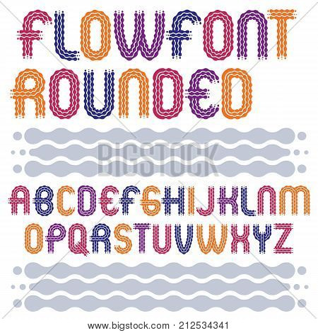 Set Of Trendy Pop Vector Capital English Alphabet Letters Isolated. Rounded Bold Retro 70S Type Font
