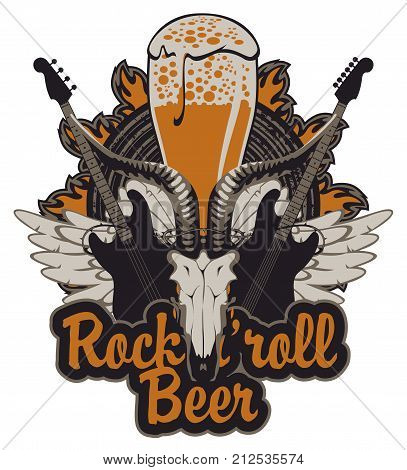 Vector banner for a rock pub with live music with an inscription and a picture of a full glass of beer goat skull acoustic guitars wings and vinyl records in the fire