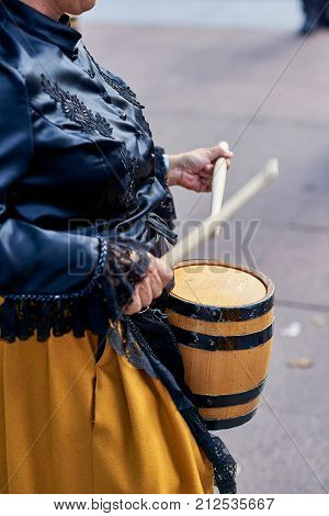 Citizens Drumming In Tamborrada Of San Sebastian. Basque Country, Spain.
