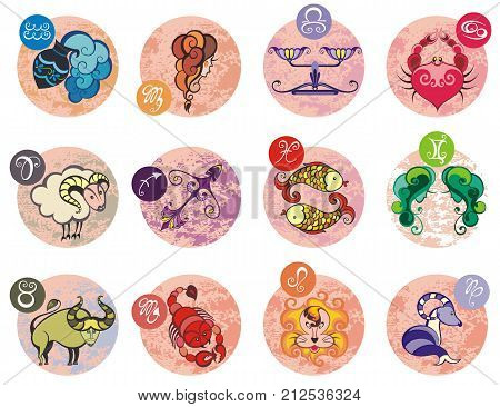 Zodiac signs (set of horoscope symbols, astrology icons collection)