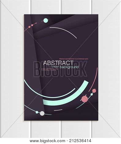 Stock vector brochure A5 or A4 format material design style. Design business templates with abstract turquoise round shapes on purple backgrounds for printed material, element corporate style, card, cover