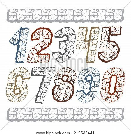 Set of stylish vector digits modern numerals collection. Bold italic numbers from 0 to 9 can be used for logo creation poster design. Made with 3d granite structure style.