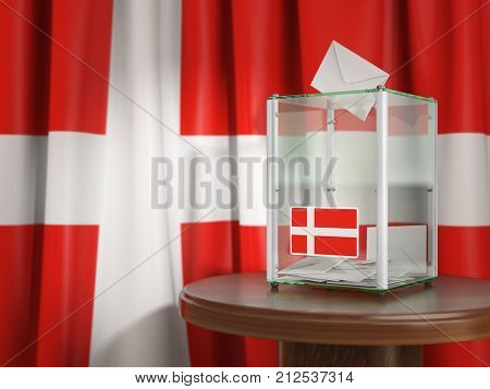 Ballot box with flag of Denmark and voting papers. Danish presidential or parliamentary election. 3d illustration