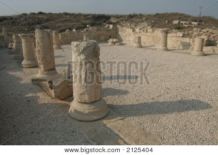 Ancient ruins in Paphos Cyprus - part of UNESCO world heritage poster