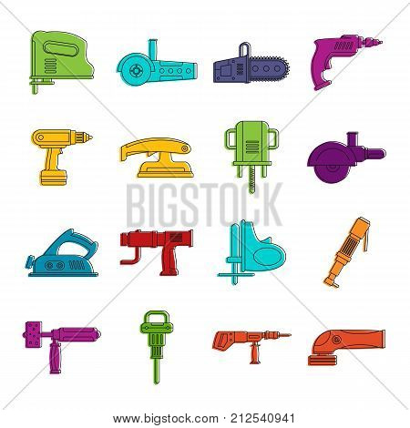 Electric tools icons set. Doodle illustration of vector icons isolated on white background for any web design