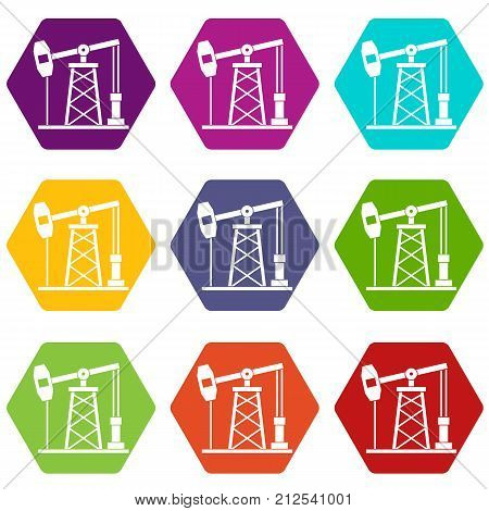 Oil derrick icon set many color hexahedron isolated on white vector illustration