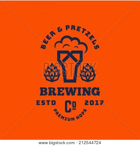 Beer and Pretzels Abstract Vector Retro Symbol or Logo Template. Vintage Typography Premium Brewing Sign. Glass with Foam and Bagel Creative Emblem. Orange Background.
