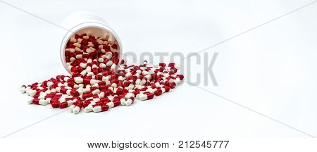 Colorful of antibiotic capsules pills with plastic bottle on white background. Drug resistance antibiotic drug use with reasonable health policy and health insurance concept.