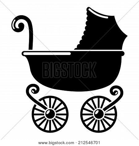 Baby carriage vintage icon. Simple illustration of baby carriage vintage vector icon for web