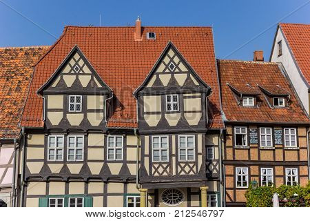 QUEDLINBURG, GERMANY - OCTOBER 16, 2017: Facades of half timbered houses in historic Quedlinburg Germany