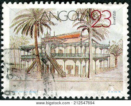 ANGOLA - CIRCA 1990: A stamp printed in Angola shows the historic building in the capital Luanda - Palacio de Ferro (Iron Palace) by architect Gustave Eiffel circa 1990