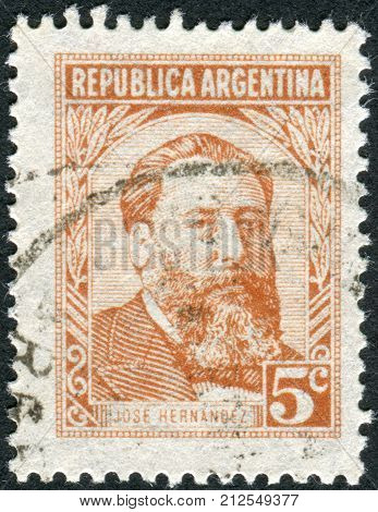Argentina - Circa 1957: Postage Stamp Printed In Argentina, Shows A Journalist, Poet And Politician