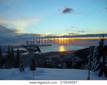 Sunny and snowy Grouse Mountain in Vancouver, Canada