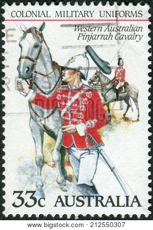 Australia - Circa 1985: Postage Stamp Printed In Australia Shows The Colonial Military Uniforms: Wes