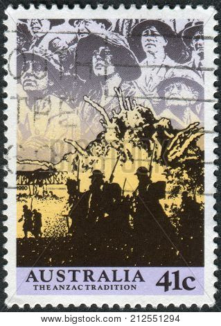 Australia - Circa 1990: Postage Stamp Printed In Australia, Shows Scenes From Ww Ii, 1940-41: Anzacs