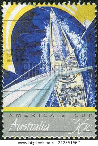 Australia - Circa 1987: Postage Stamp Printed In Australia, Is Dedicated To America's Cup Yacht Raci