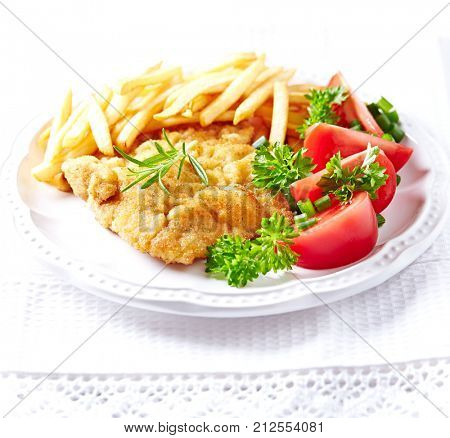 Schnitzel with French Fries and Salad