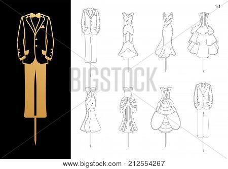Die cut Bride and Groom wedding Cake Toppers 7.89'' H. Cutout elegant Dresses and Masculine suits silhouettes. Laser cut table sign is suitable for way to top of cake in Anniversary, Engagement, Bridal shower. poster