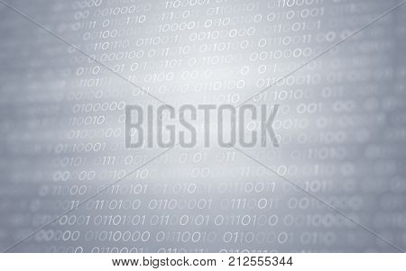 3D Abstract White Binary Code Futuristic Information Technology Illustration Render Background