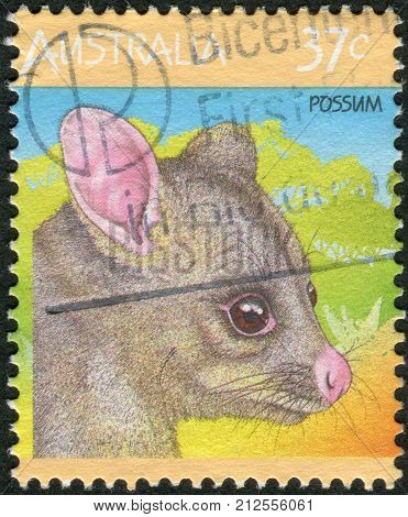 Australia - Circa 1987: Postage Stamp Printed In Australia, Shows The Common Brushtail Possum (trich