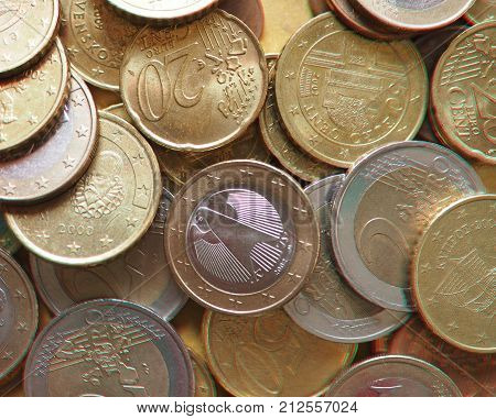 Anaglyph 3D Image Of Euro Coins, European Union