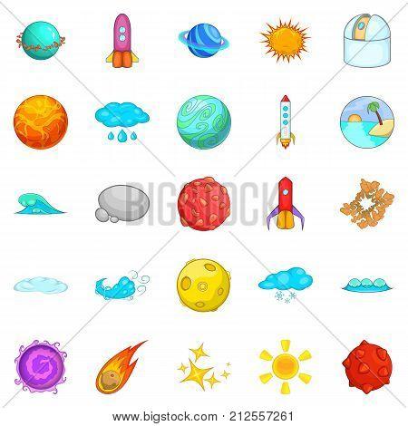 Macrocosm icons set. Cartoon set of 25 macrocosm vector icons for web isolated on white background