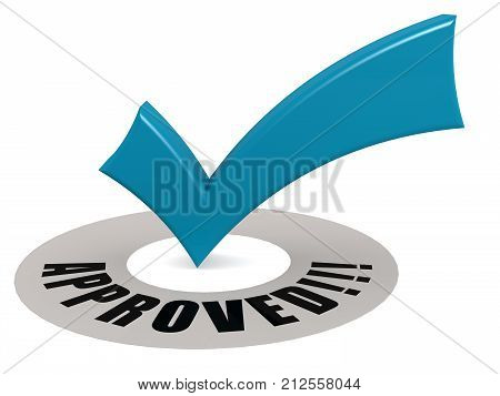 Approved Word And Blue Check Mark
