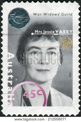 Australia - Circa 1995: Postage Stamp Printed In Australia, Shows The Founder And President Of The W