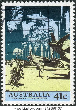 Australia - Circa 1990: Postage Stamp Printed In Australia, Shows Scenes From Ww Ii: Anzacs At The F