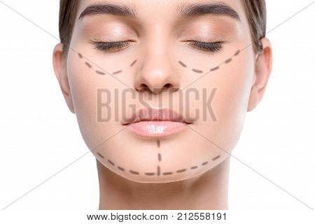 Woman With Correction Lines