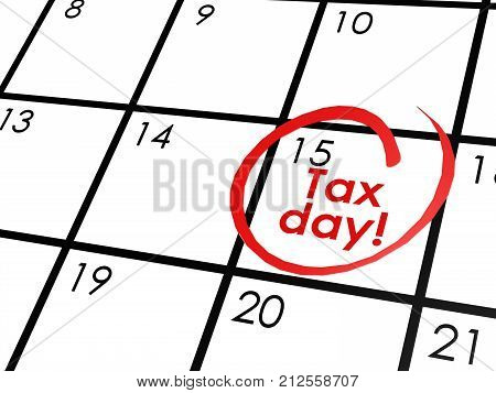 Tax Day On White Calendar